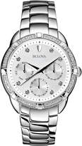 Bulova 36mm Chronograph Bracelet Watch w/ Diamonds, Silver