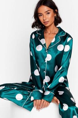 Nasty Gal Womens My Spotlight Satin Polka Dot Pajama Set - Emerald