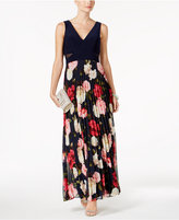 Xscape Evenings Illusion-Trim Floral-Print Gown