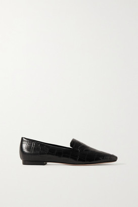 PORTE & PAIRE Croc-effect Leather Loafers - Black