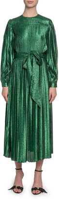 MARC JACOBS, RUNWAY Pleated Lame Self-Tie Midi Dress