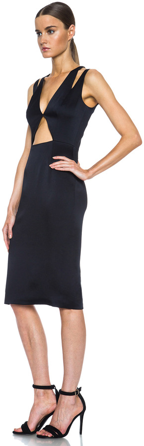 Cushnie et Ochs Deep V Cut Out Acetate-Blend Dress in Black