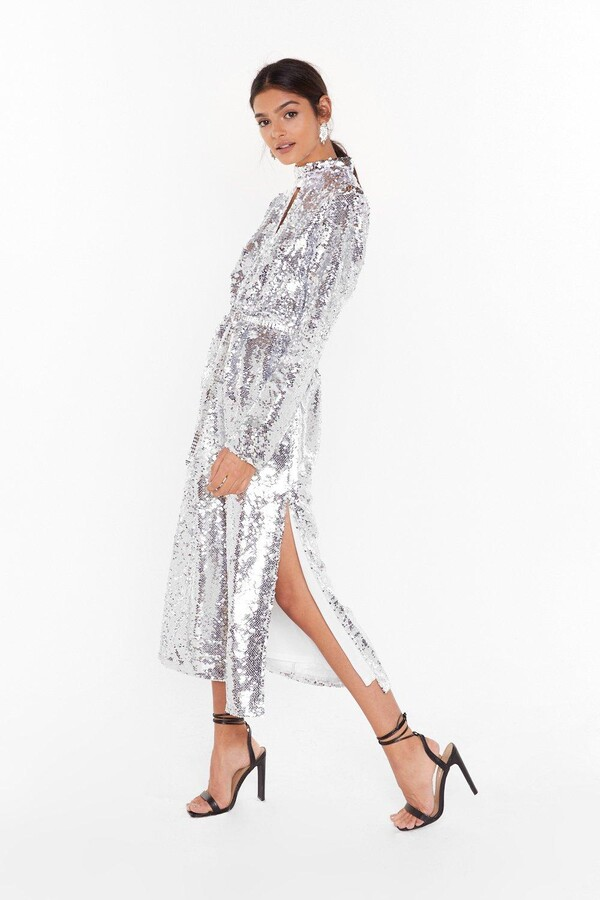 Thumbnail for your product : Nasty Gal Womens Head to Toe Icon Sequin Maxi Dress - Grey - 6