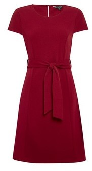 Dorothy Perkins Womens Wine Tie Waist Fit And Flare Dress