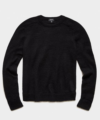 Todd Snyder Brushed Italian Mohair Wool Sweater in Black