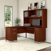 Kittle Reversible L-Shape Executive Desk with Hutch Latitude Run Color: Hansen Cherry