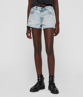 AllSaints Cleo Denim Low-Rise Boyfriend Shorts