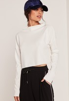 Missguided Petite Grown On Neck Long Sleeve Top White