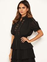 AX Paris Petite Chiffon Lace Skater Dress - Black