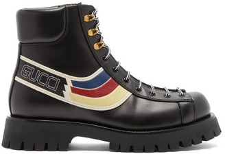 Gucci Oliver Web-stripe Leather Hiking Boots - Black