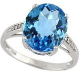 EFFY 14Kt. White Gold & Blue Topaz Ring with Diamonds