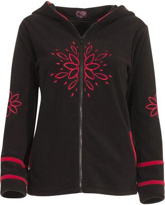 Coline Women's Fleece Jackets BLACK - Black Floral Embroidered Zip-Up Hoodie - Women & Plus