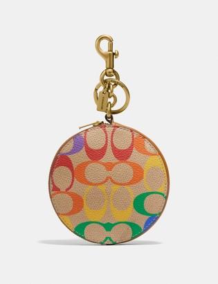 Coach Coin Case Bag Charm In Rainbow Signature Canvas