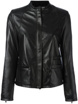 Eleventy zipped jacket - women - Leather/Viscose - 40