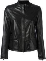 Eleventy zipped jacket - women - Leather/Viscose - 42