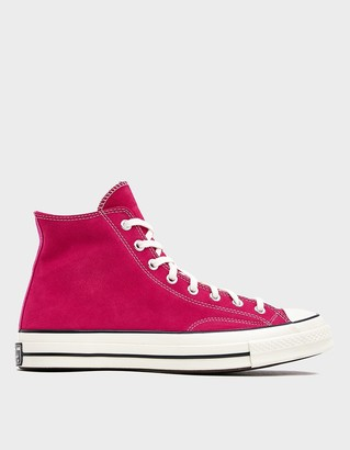 Converse Men's Suede Chuck 70 High Sneaker in Prime Pink, Size 9 | Leather