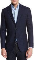 Ermenegildo Zegna Textured Check Wool-Silk Sport Coat, Navy