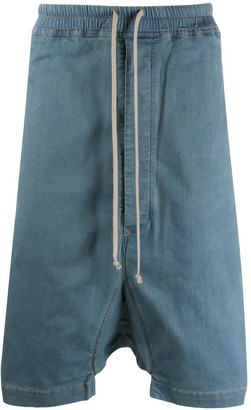Rick Owens denim drop-crotch shorts