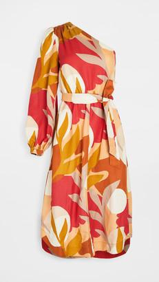 Rebecca Vallance Sangria One Sleeve Midi Dress