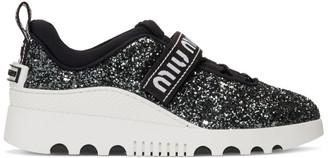Miu Miu Black and White Glitter Run Sneakers