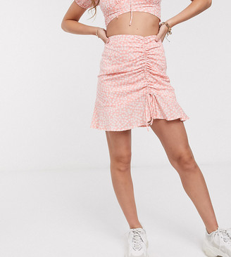 Sisters Of The Tribe Petite ruched side mini skirt in floral print co-ord