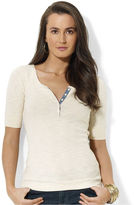 Lauren Ralph Lauren Top, Short-Sleeve Chambray-Trim Henley