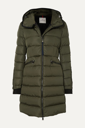 Moncler Hooded Quilted Shell Down Jacket - Army green