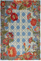 Mackenzie Childs MacKenzie-Childs Blue Morning Glory Indoor/Outdoor Rug, 2' x 3'