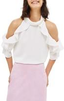 Topshop Women's Ruffle Cold Shoulder Top