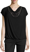 Laundry by Shelli Segal Short-Sleeve Jersey-Knit Necklace Tee, Black