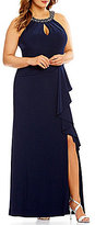 Vince Camuto Plus Beaded Halter Neckline Ruffle Gown