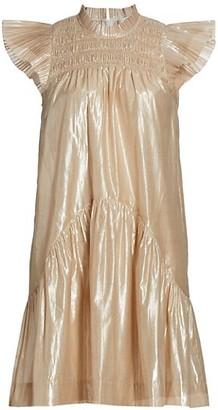 Sea Flutter-Sleeve Smocked Dress