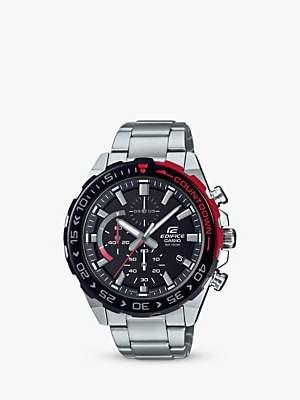 Casio EFR-566DB-1AVUEF Men's Edifice Countdown Chronograph Solar Bracelet Strap Watch, Silver/Black