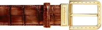 Pakerson Ripa Wood Alligator Leather Belt w/ Gold Buckle