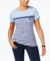 Karen Scott Striped Pocketed Active T-Shirt, Created for Macy's
