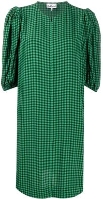 Ganni Gingham Tie-Waist Dress