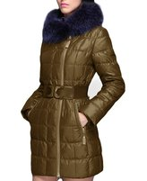 XIAOLV88 Women's Fur Collar Slim Snowy Warm Long Down Coat