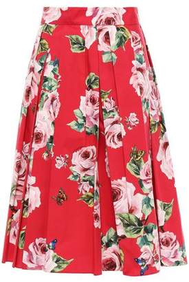 Dolce & Gabbana Pleated Floral-print Cotton-poplin Midi Skirt