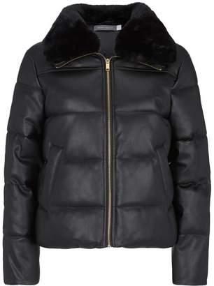 Mint Velvet Black Faux Leather Padded Coat