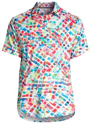 Robert Graham Classic-Fit Buster Rainbow Geometric Print Short-Sleeve Shirt