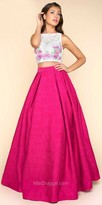 Mac Duggal Two Piece Brocade Floral Embroidered Prom Dress