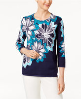 Alfred Dunner Scenic Route Cotton Floral-Print Sweater