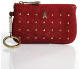 Rebecca Minkoff Dark Red Leather Gold Tone Keychain Zipper Coin Purse Handbag