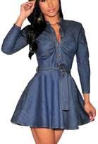 Hujukuludusu Women's Sexy Dress V-neck Long Sleeve Denim Party A-line Skirt Dress (L, )
