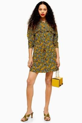 Topshop Womens Petite Idol Agadir Paisley Pleat Mini Shirt Dress - Mustard