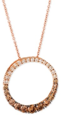 """LeVian Le Vian Chocolate Diamond Ombre Circle 18"""" Adjustable Pendant Necklace (1-1/5 ct. t.w.) in 14k Rose Gold"""