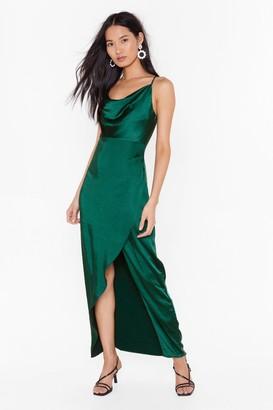 Nasty Gal Womens cowl midi dress - Green - 4