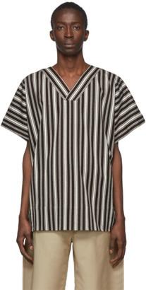 Jil Sanderand Brown and White Stripe Deckchair T-Shirt
