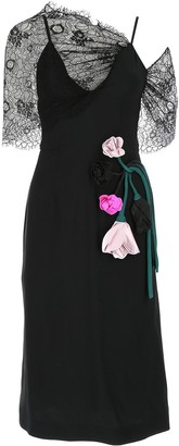 Prada Floral Lace Panelled Midi Dress