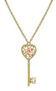 """2028 Gold Tone Pink Porcelain Rose Key Pendant Necklace 16"""" Adjustable"""